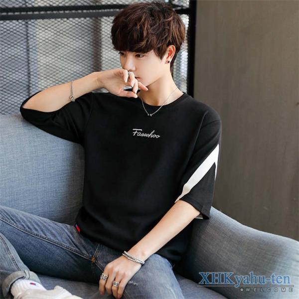 Tシャツ カジュアルTシャツ メンズ 5分袖 トップス クルーネック 五分袖Tシャツ 細身 メンズファッション|xhkyafu-ten|08