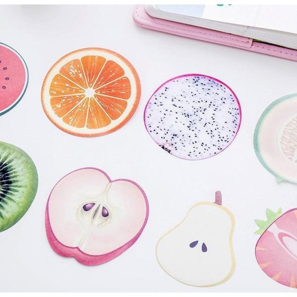 フルーツ 果肉 付箋紙 ふせん しおり メモ ステッカー メモ帳 手帳 ブックマーク フルーツ 7種 14個セット|xpdesign|07