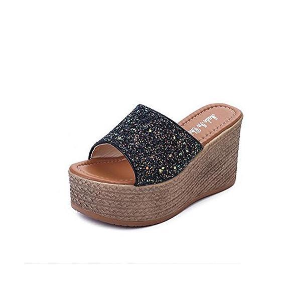 RSWHYYスリッパサンダルレディース夏キラキラスパンコール厚底ハイヒールヒール9cmウエッジソール靴ブラック24
