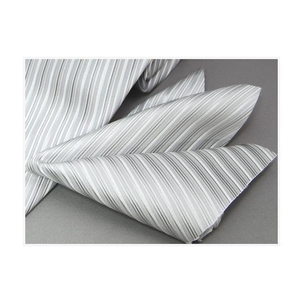 ネクタイ 結婚式 メンズ シルク シルバー系 変わりストライプ ネクタイ&ポケットチーフセット 選べる幅 フォーマル 礼装|y-cravat-ueda|03