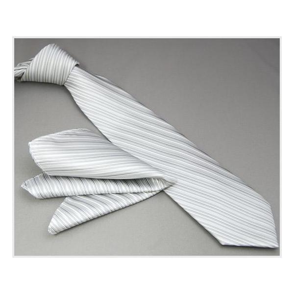 ネクタイ 結婚式 メンズ シルク シルバー系 変わりストライプ ネクタイ&ポケットチーフセット 選べる幅 フォーマル 礼装|y-cravat-ueda|04