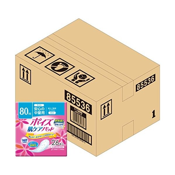 【ケース販売】 ポイズ 肌ケアパッド 安心の中量用(ライト)80cc 26枚 ×6パック入り (女性の軽い尿もれ用)|y-evolution