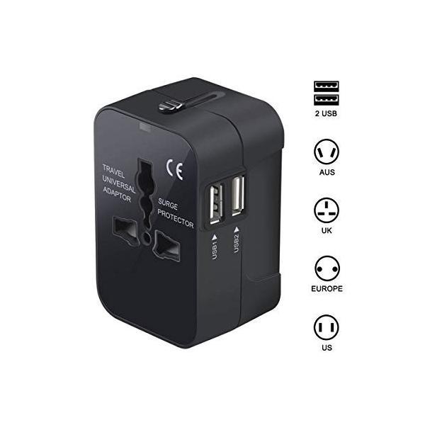 海外安全旅行充電器 コンパクトな コンセント 2USBポート変換プラグ 電源プラグ 旅行アダプター 壁の充電器 NONNBIRI (ブラック)|y-evolution