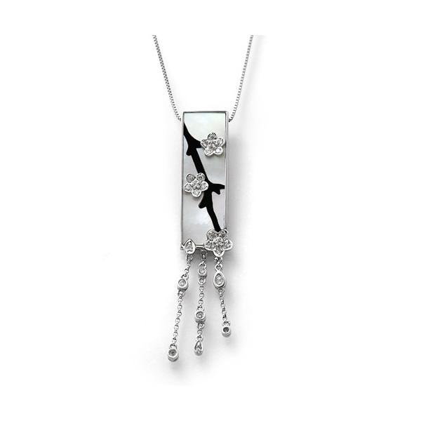 K18WG シェル オニキス  ダイヤモンド ペンダント ネックレス