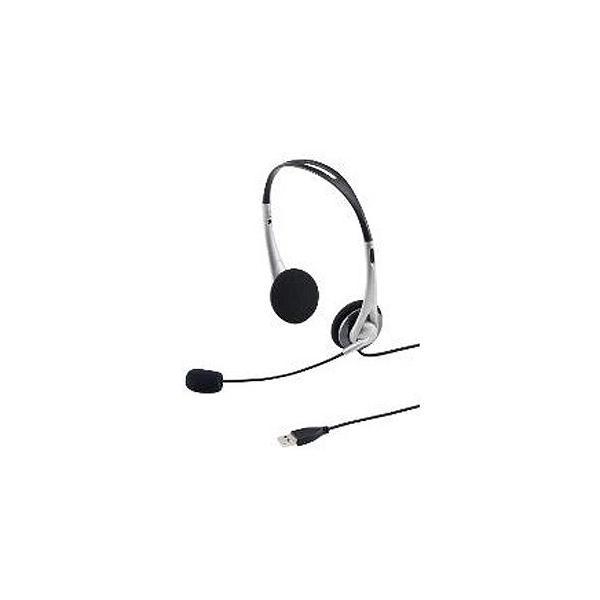 サンワサプライ 「Windows8対応」ヘッドセット「USB」 両耳オーバーヘッドタイプ(シルバー) MM‐HSUSB16SV