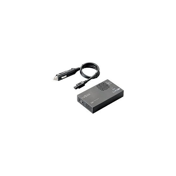 ロジテック カーインバーター/車載用/USBポート付/150W LPA-CIVT150BKの画像