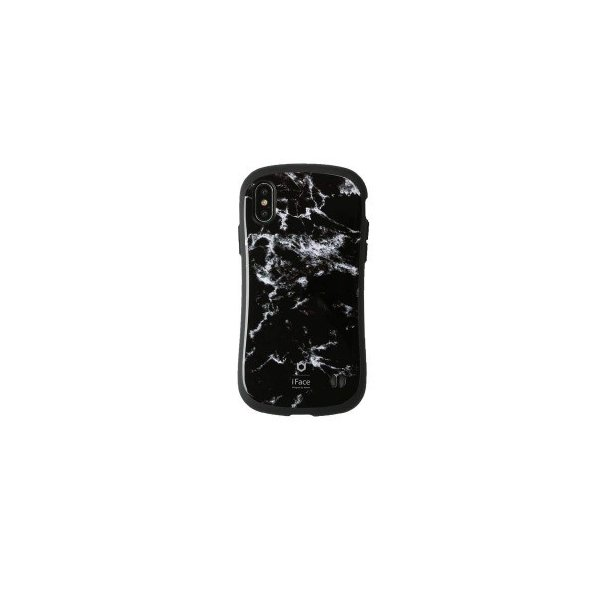 Hamee iFace First Class Marbleケース ブラック 〔iPhone XS/X用〕の画像