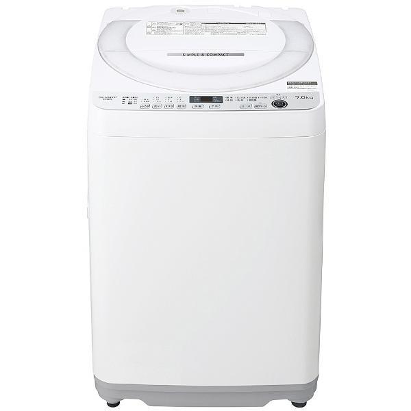 シャープSHARP全自動洗濯機[洗濯機7.0kg/送風乾燥付き/穴なし槽]ES-GE7E-Wホワイト系(標準設置)