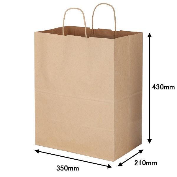 丸紐 クラフト紙手提袋ベーシック 350×430×210 茶 1セット(600枚:200枚入×3箱)