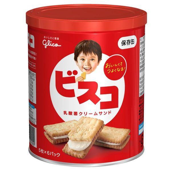 非常食 ビスコ保存缶 6530140 1缶(5枚入×6パック) 江崎グリコ
