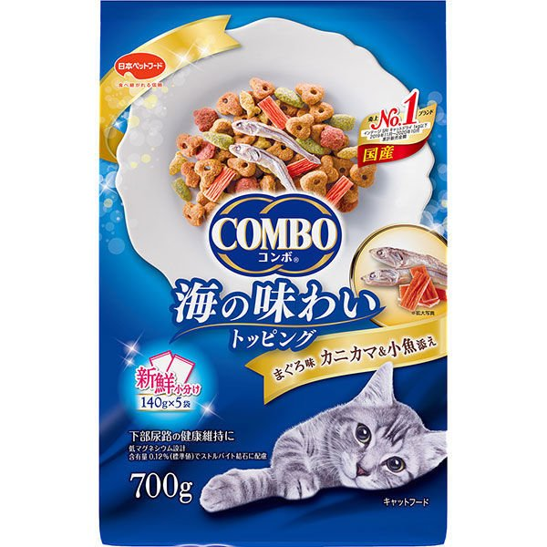 コンボ キャットフード 猫下部尿路 まぐろ味・カニカマ 国産 700g(140g×5袋)