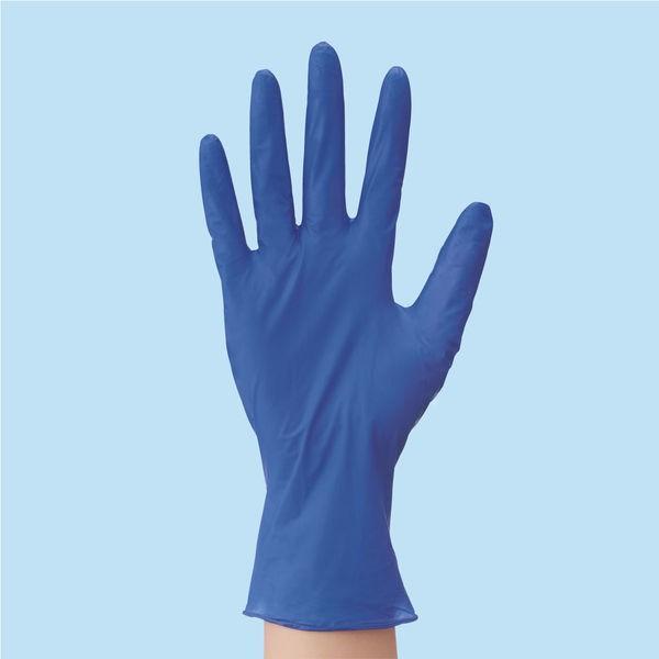 川西工業 「現場のチカラ」 使いきりニトリル手袋 極薄手 粉なし L ディープブルー 1箱(100枚入)