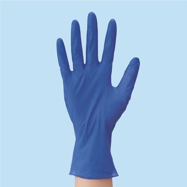 川西工業 「現場のチカラ」 使いきりニトリル手袋 極薄手 粉なし S ディープブルー 1箱(300枚入)