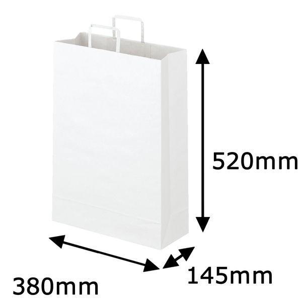 平紐 クラフト紙手提袋ベーシック380×520×145 白 1箱(200枚:50枚入×4箱)