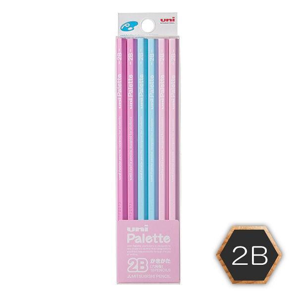 三菱鉛筆(uni) ユニパレット 鉛筆 2B 六角・パステルピンク軸 K55612B 1ダース(12本入)