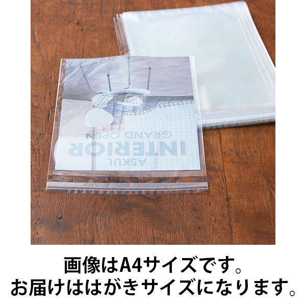 アスクルオリジナル OPP袋(テープ付き) 簡易包装パック はがき用 テープ付き 透明封筒 1セット(1000枚:500枚入×2袋)