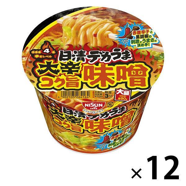 カップラーメン日清食品日清デカうま大辛コク旨味噌大盛114g12個