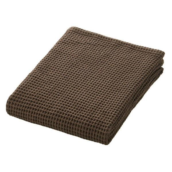 無印良品 綿ワッフルスモールバスタオル・薄手/ダークブラウン 60×120cm 82222005 良品計画