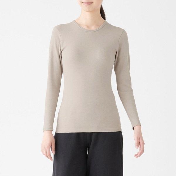 無印良品 綿とウールで真冬もあったかクルーネック長袖Tシャツ 婦人 L ライトベージュ 良品計画
