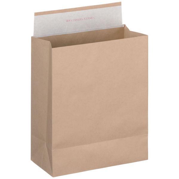 「現場のチカラ」 スーパーバッグ 紙製宅配袋 マチ広タイプ 茶 (小) 封緘シール付 1パック(100枚入) オリジナル