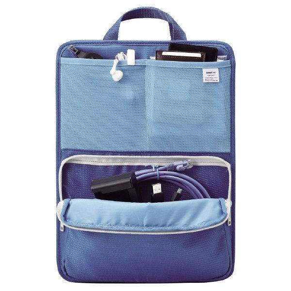 リヒトラブ バッグインバッグ スタンドポケット A4 タテ型 ブルー A7668-8
