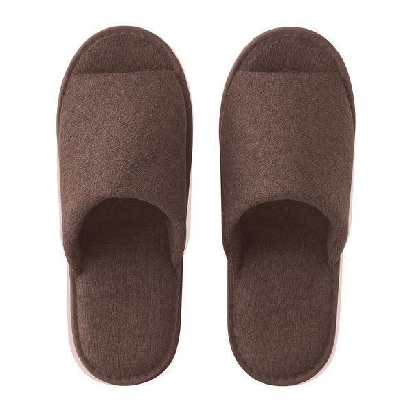 パイル地携帯スリッパ(不織布製袋付き) ブラウン 1足