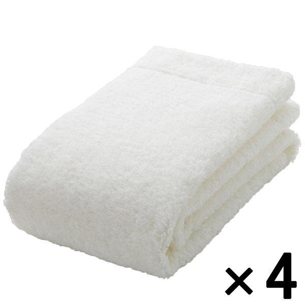 【まとめ買いセット】無印良品 綿パイルフェイスタオル・中厚手/オフ白 34×85cm 4枚 良品計画