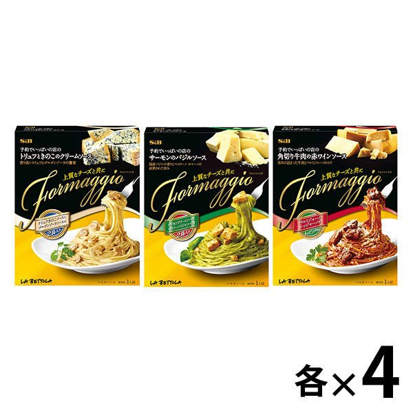 エスビー食品 予約でいっぱいの店のFormaggio 3種セット(角切り牛肉の赤ワイン・トリュフときのこのクリームソース・サーモンのバジル×各4点)