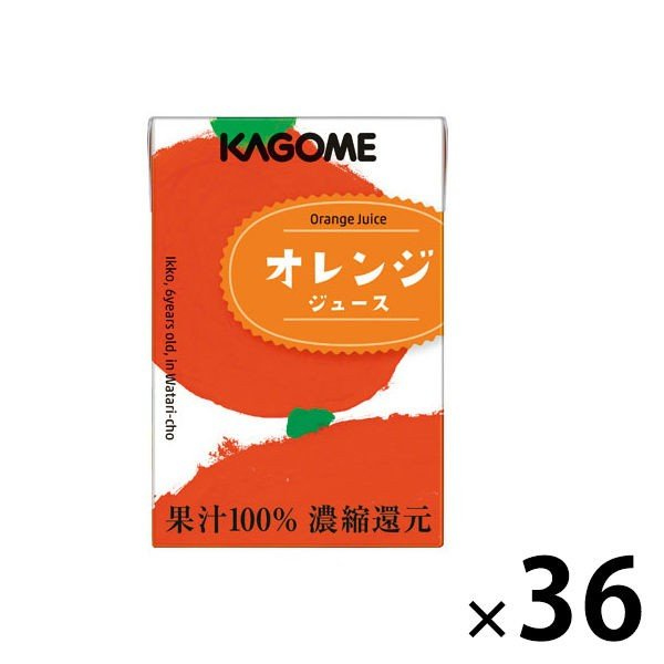 ロハコ カゴメ果汁100%オレンジジュース(こども支援パッケージ)100ml1セット(36本)