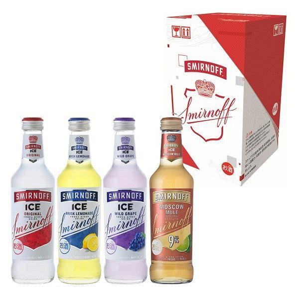 チューハイカクテル(ロハコ )(飲み比べ)スミノフアイスアソート1箱(4本入:各1本×4種)275mlボトルカクテルウォッカ