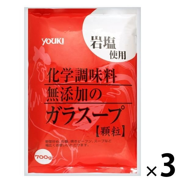 鶏がらスープの素 業務用 化学調味料無添加のガラスープ 700g 3袋 ユウキ食品