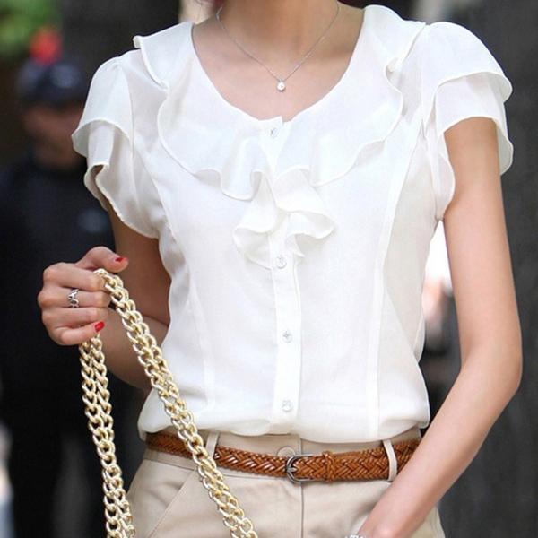 おしゃれな半袖ブラウス フリルブラウス 白 半袖 フォーマル 襟付きブラウス 大きいサイズ 無地 事務服 30代 40代|y-mty|05