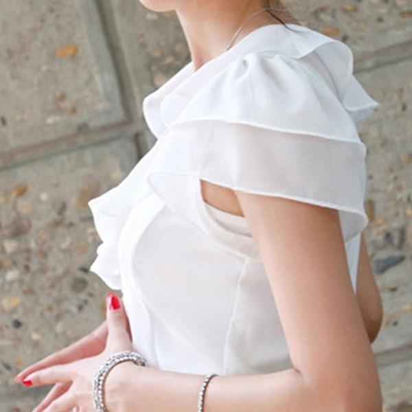 おしゃれな半袖ブラウス フリルブラウス 白 半袖 フォーマル 襟付きブラウス 大きいサイズ 無地 事務服 30代 40代|y-mty|07