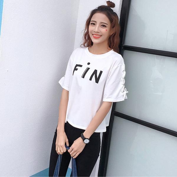 五分袖 カットソー レディース 黒 おしゃれ トップス Tシャツ 袖紐 かわいい 大きいサイズ ゆったり プリント ロゴ カジュアルシャツ|y-mty|12