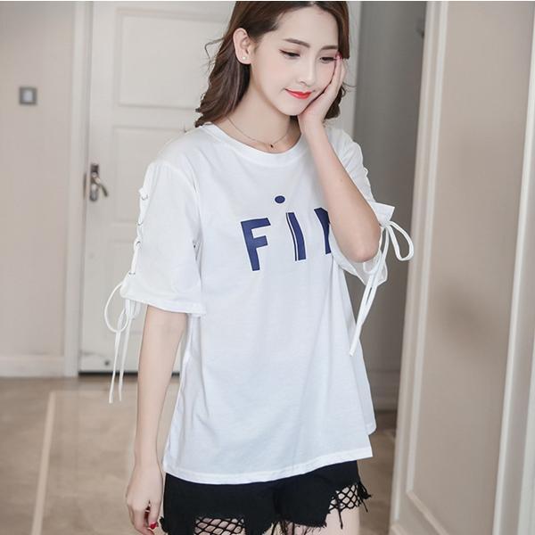 五分袖 カットソー レディース 黒 おしゃれ トップス Tシャツ 袖紐 かわいい 大きいサイズ ゆったり プリント ロゴ カジュアルシャツ|y-mty|15