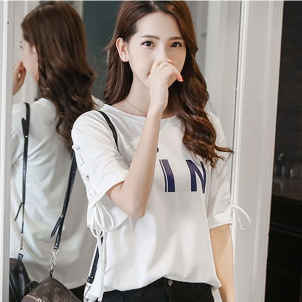 五分袖 カットソー レディース 黒 おしゃれ トップス Tシャツ 袖紐 かわいい 大きいサイズ ゆったり プリント ロゴ カジュアルシャツ|y-mty|19