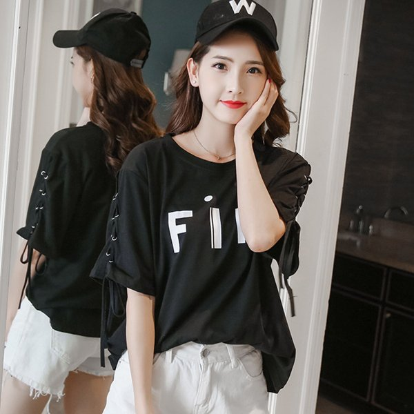 五分袖 カットソー レディース 黒 おしゃれ トップス Tシャツ 袖紐 かわいい 大きいサイズ ゆったり プリント ロゴ カジュアルシャツ|y-mty|18