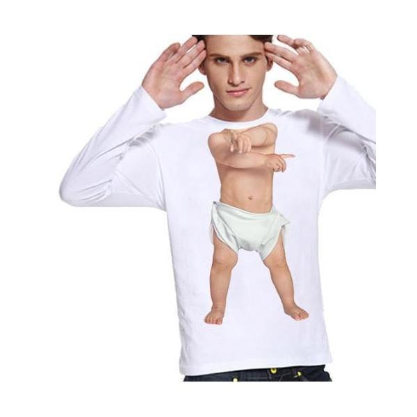 Tシャツ メンズ おしゃれ カットソー おもしろ トップス 赤ちゃん 長袖 トップス ベビーダンサー サイズM カジュアルシャツ btab181 y-mty