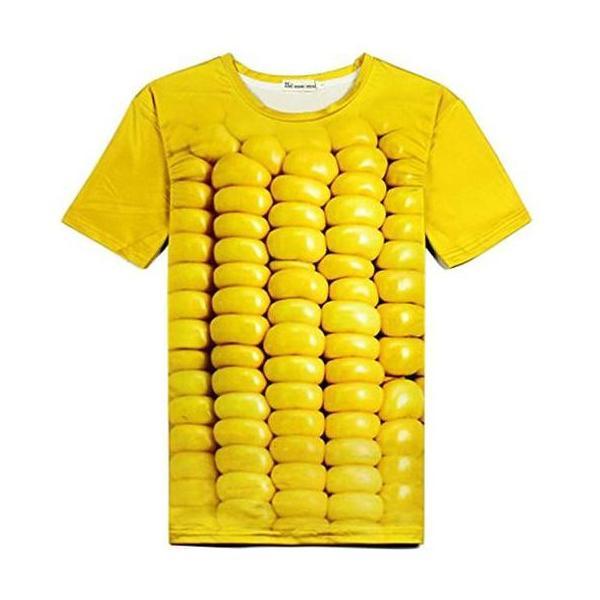 Tシャツ レディース メンズ おしゃれ 半袖 立体とうもろこし柄 カットソー 3DTシャツ おもしろ コーンTシャツ トップス|y-mty
