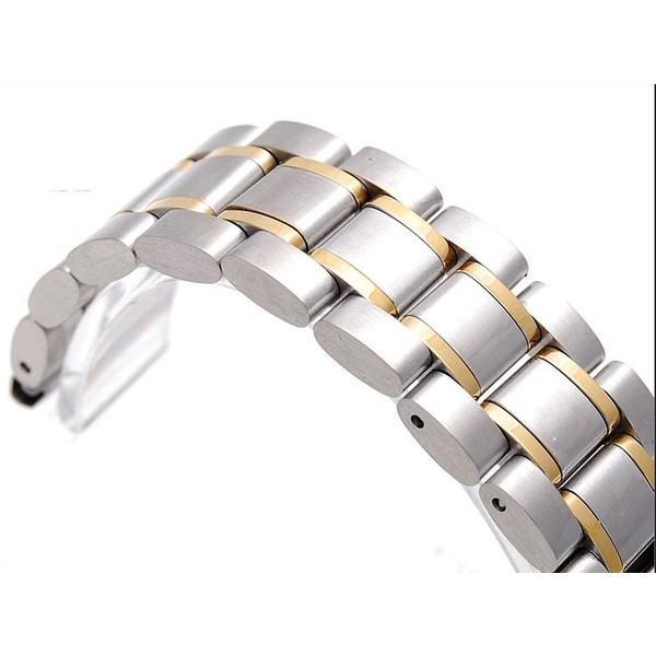 腕時計 交換バンド ベルト ステンレス プッシュ式 直カン ゴールドアクセント18mm 20mm 22mm|y-mty|02