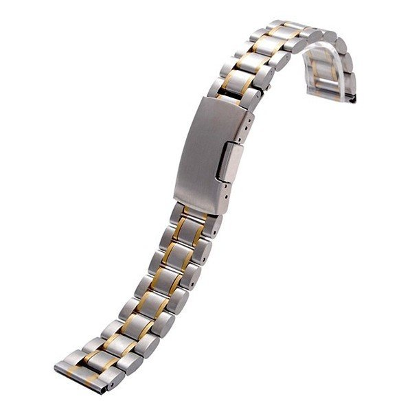 腕時計 交換バンド ベルト ステンレス プッシュ式 直カン ゴールドアクセント18mm 20mm 22mm|y-mty|03