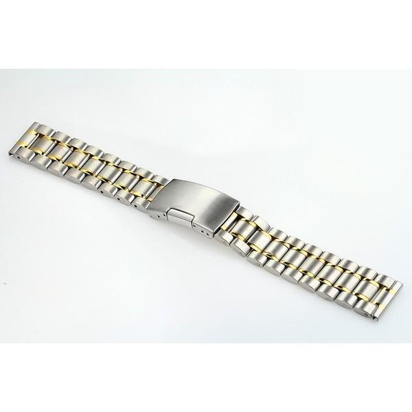 腕時計 交換バンド ベルト ステンレス プッシュ式 直カン ゴールドアクセント18mm 20mm 22mm|y-mty|04