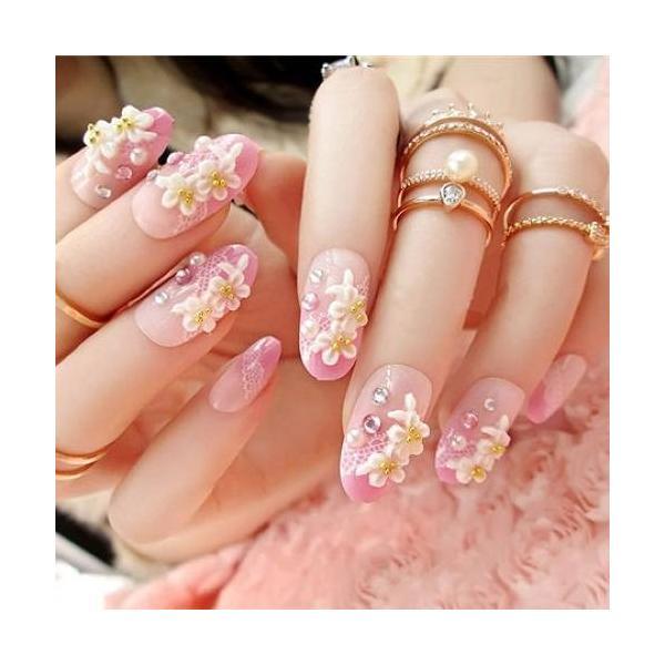 ネイルチップ レディース おしゃれ つけ爪 かわいい 3D デコレーション 花 フラワー デザイン 結婚式 披露宴 二次会|y-mty|07