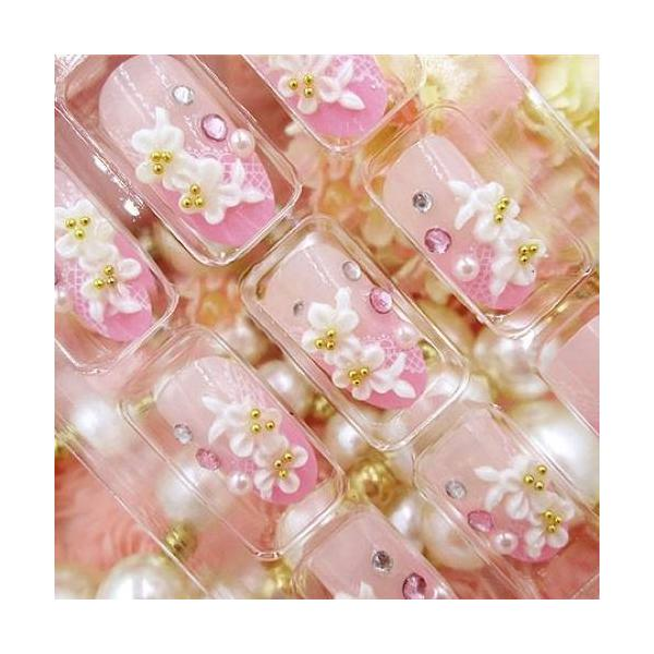 ネイルチップ レディース おしゃれ つけ爪 かわいい 3D デコレーション 花 フラワー デザイン 結婚式 披露宴 二次会|y-mty|02