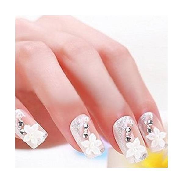 ネイルチップ レディース おしゃれ つけ爪 かわいい 3D デコレーション 花 フラワー デザイン 結婚式 披露宴 二次会|y-mty|04