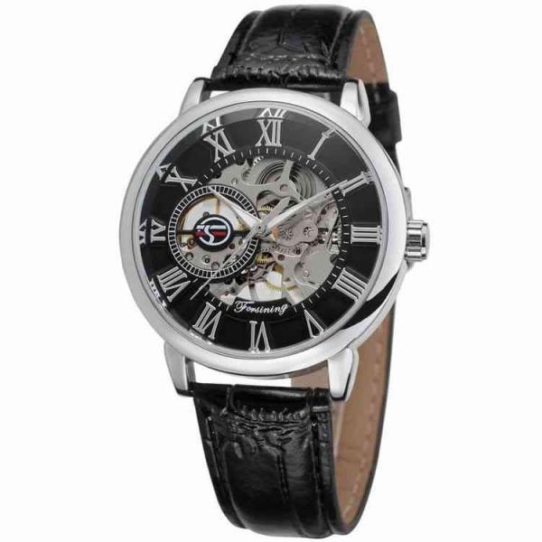 腕時計 メンズ 40代 おしゃれ ビジネス 50代 メンズウォッチ ブラック フルスケルトン 高級感抜群 手巻き フェイス シルバー インデックス rkab045|y-mty|02