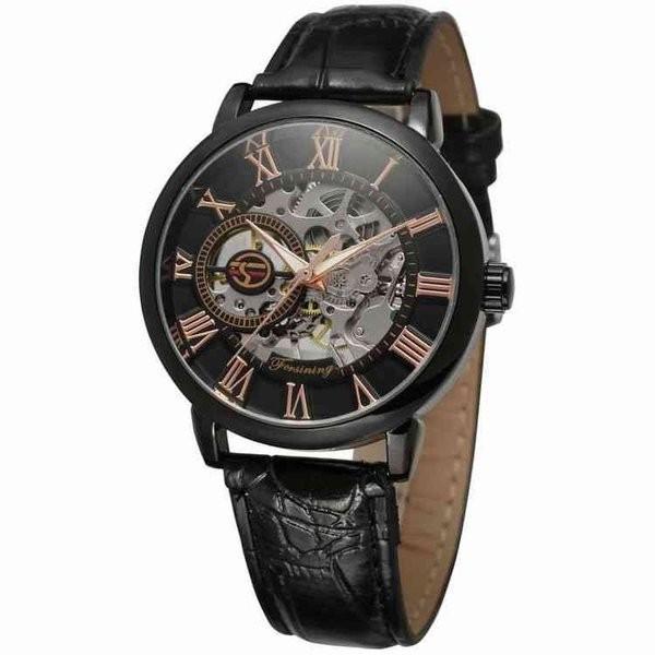 腕時計 メンズ 40代 おしゃれ ビジネス 50代 メンズウォッチ ブラック フルスケルトン 高級感抜群 手巻き フェイス シルバー インデックス rkab045|y-mty|03