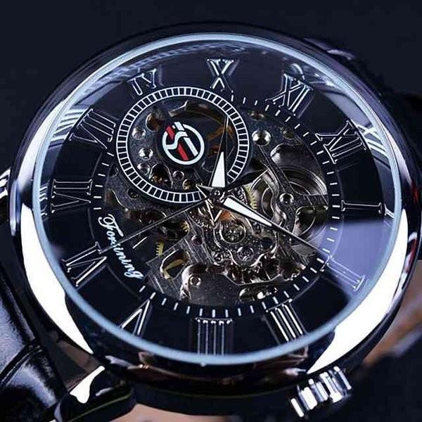 腕時計 メンズ 40代 おしゃれ ビジネス 50代 メンズウォッチ ブラック フルスケルトン 高級感抜群 手巻き フェイス シルバー インデックス rkab045|y-mty|07