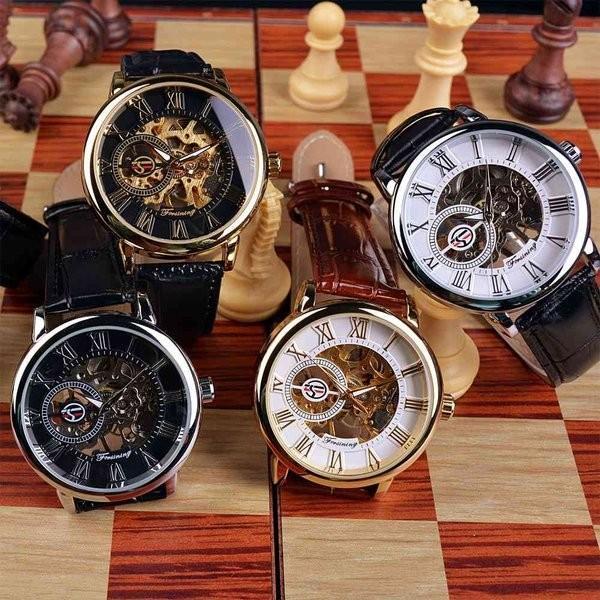 腕時計 メンズ 40代 おしゃれ ビジネス 50代 メンズウォッチ ブラック フルスケルトン 高級感抜群 手巻き フェイス シルバー インデックス rkab045|y-mty|04