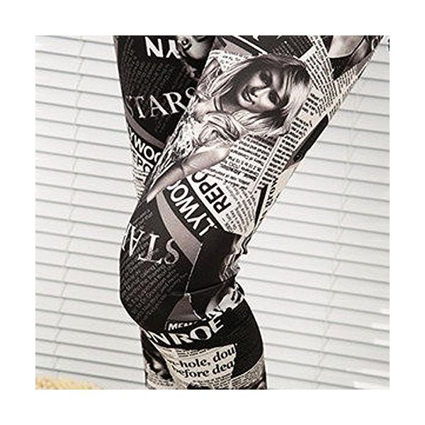 レギンス スパッツ 10分丈 雑誌柄 レディース スキニーパンツ フリーサイズ rtab240|y-mty|08